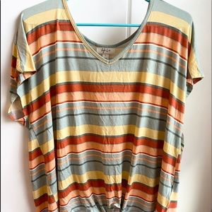 orange & green striped shirt